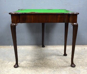 Antique 18th century  mahogany folding card table on turned legs and pad feet 72cm x 83cm