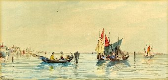 Antique E. Parrini Watercolours, Venetian lagoon views, pair, signed, each 16cm x 31cm