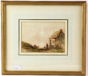 Antique Joseph Newington-Carter (1835-1871) Jersey watercolour signed, and another, 12cm x 16cm