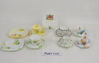 Antique Collection of decorative teapots, tea cups and saucers by Shelley, Paragon and others