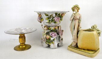 Antique Amphora figural vase, continental figural centrepiece with moulded flowers and putti, and a cakestand