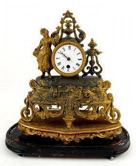 Antique Gilt metal mantel clock