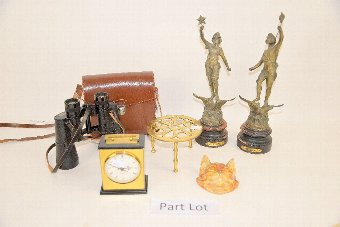 Antique Pair of spelter figures, walnut jewellery box, copper kettle and miscellaneous other items