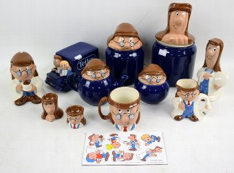 Antique Group of Wade Tetley Tea merchandise, including biscuit barrel, egg cups, mugs, some with boxes