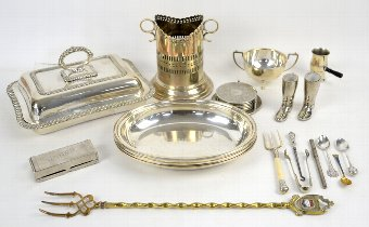 Antique Small collection of silver plate including entree dish