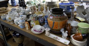 Antique Quantity of decorative ceramics to include Dresden candlesticks, Rosenthal and Wedgwood