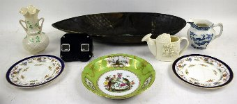 Antique Almond-shaped green glazed dish, a small collection of other ceramics and a stereoscope