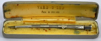 Antique Silver pencil with engine turned boxed decoration, by Yard O Led, in original case, 11.5 cm long