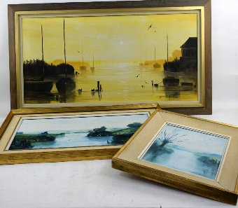 Antique Mark W Pike, Sailing boats at moorings, oil on canvas, signed and two other works by the same artist