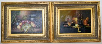 Antique G. Franco, still-lifes with fruit and wineglasses, signed, oil on board, 29.5cm x 39.5cm, (pair),