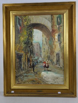 Antique G. de. Simone - continental street scene with figures, oil on canvas