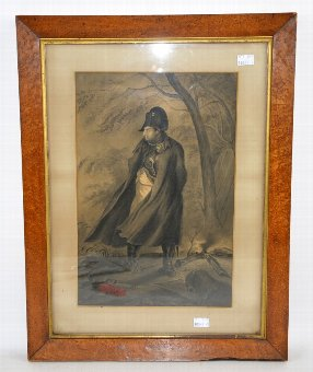 Antique Napoleon in a wooded landscape scene, framed