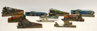 Antique Small collection of Britain's and other military figures and press-out tin cars, planes and trains.