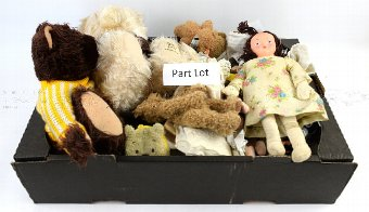 Antique Large collection of modern dolls, teddies, doll's clothes, doll's house furniture and other related items