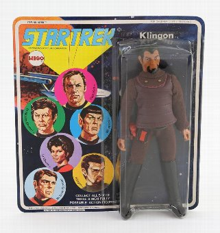 Antique Star Trek - Mego Corp 1974 Klingon action figure (51200/7) in carded bubblepack, unpunched.