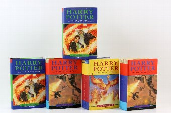 Antique Harry Potter - Five first edition hardback books.
