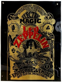Antique Led Zeppelin - Large vinyl poster of Electric Magic at Empire Pool Wembley, flat, 23.5 x 31.5 inches.
