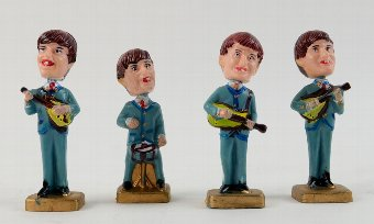 Antique The Beatles - Plastic nodding figures of the fab four, made in Hong Kong, each 4 inches (4).