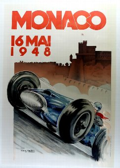 Antique Monaco 16 Mai 1948 - Grand Prix Racing poster, conservation backed in frame, 27 x 39 inches