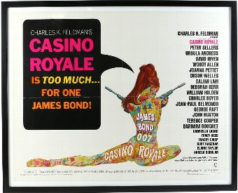 Antique James Bond Casino Royale (1967) US Half Sheet film poster, linen backed in frame, 22 x 28 inches