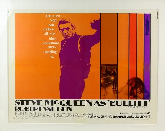 Antique Bullitt (1969) US Half Sheet film poster, starring Steve McQueen, framed, 22 x 28 inches