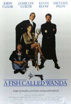 Antique A Fish Called Wanda (1988) US One Sheet film poster, framed, 27 x 41 inches