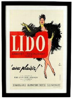 Antique René Gruau (French 1909-2004) - 'Lido', vintage poster, conservation backed in frame, 15.5 x 23 inches