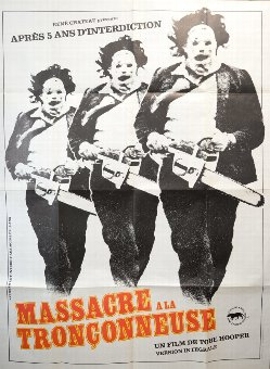 Antique The Texas Chainsaw Massacre (R-1980s) French Grande film poster, folded, 47 x 63 inches.