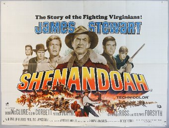 Antique Shenandoah (1965) British Quad film poster, Western starring James Stewart, folded, 30 x 40 inches