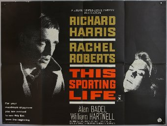 Antique This Sporting Life (1963) British Quad film poster, starring Richard Harris, Rank, folded, 30 x 40 inches