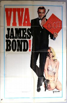Antique Viva James Bond (1970) One Sheet film poster, folded, 27 x 41 inches