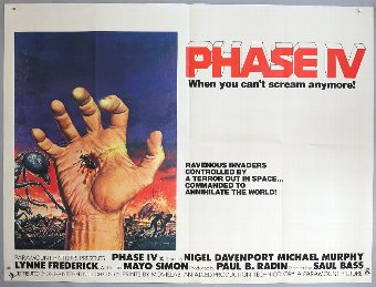 Antique Phase IV (1974) British Quad film poster, directed by Saul Bass, folded, 30 x 40 inches