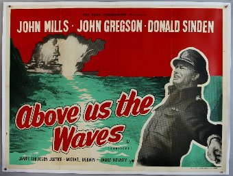 Antique Above Us The Waves (R-1960's) British Quad film poster, starring John Mills, linen backed, 30 x 40 inches