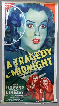 Antique A Tragedy At Midnight (1942) Three sheet film poster, linen backed, 41 x 81 inches