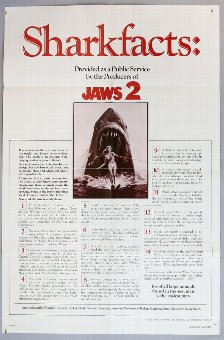 Antique Jaws 2 (1978) US One Sheet film poster, Sharkfacts Style, folded, 27 x 41 inches