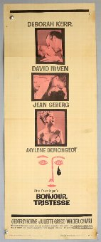 Antique Bonjour Tristesse (1958) US Insert film poster, with Saul Bass graphic design, folded, 14 x 36 inches