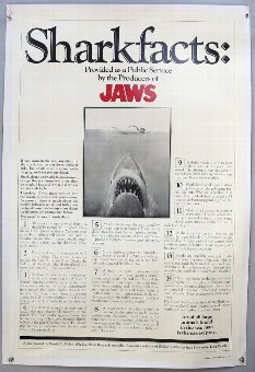 Antique Jaws (1975) Sharkfacts Style US One Sheet film poster, linen backed, 27 x 41 inches