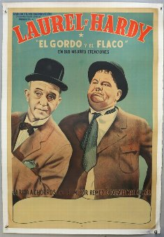 Antique Laurel & Hardy - Argentinean One Sheet film poster, linen backed, 29 x 43 inches