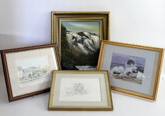 Antique Three watercolours and an oil landscape