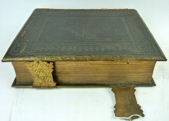 Antique Two Victorian bibles, one with clasps,
