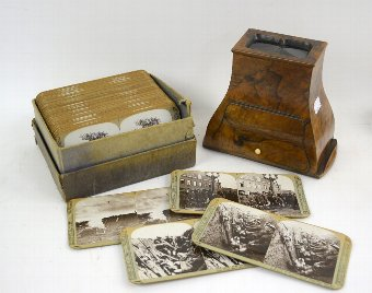 Antique 19th century walnut stereoscope viewer and set of Great War slides