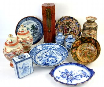 Antique A group of predominantly oriental style ceramics. (qty)