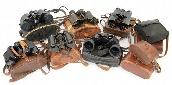Antique A quantity of assorted binoculars, mainly cased (qty)