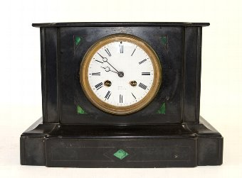 Antique Polished slate mantel clock