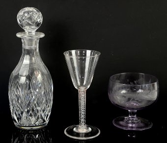 Antique 19th century wine glass with air twist stem , glass  goblet engraved with a fern and a decanter