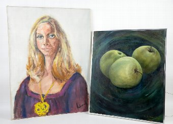 Antique As Raissis study of apples oil on canvas  and Adams portrait of a blonde lady oil on canvas  (2)