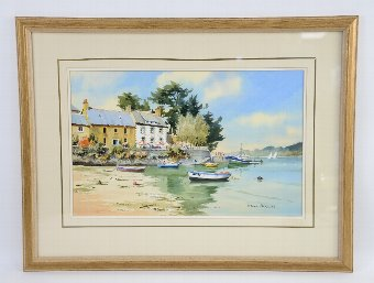 Antique Denis Pannett - river scene, signed, watercolour