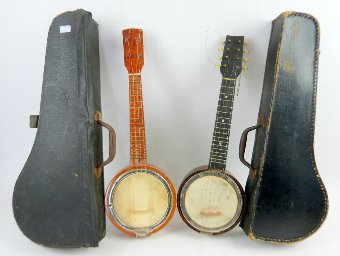 Antique Two early 20th century banjo's in fitted cases
