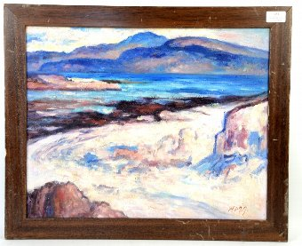 Antique Seascape oil on board, monogrammed W.M.G. lower right, 39cm x 49cm