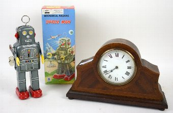 Antique Mahogany cased mantel clock and Modern clockwork Robot